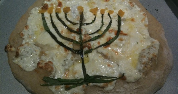 Happy Chaukah: Homemade Menorah Pizza Pies